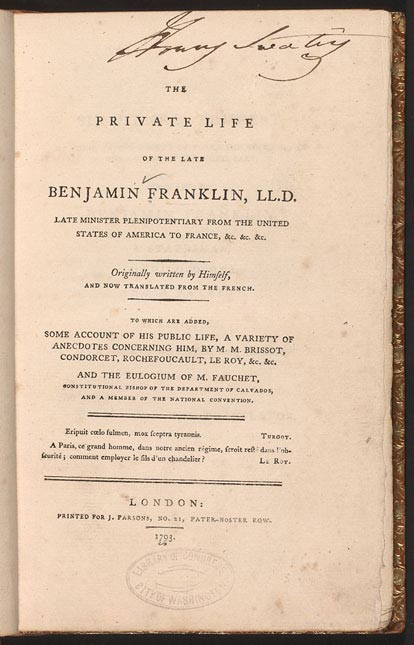 benjamin franklin s autobiography finding franklin a resource franklin autobiography title page