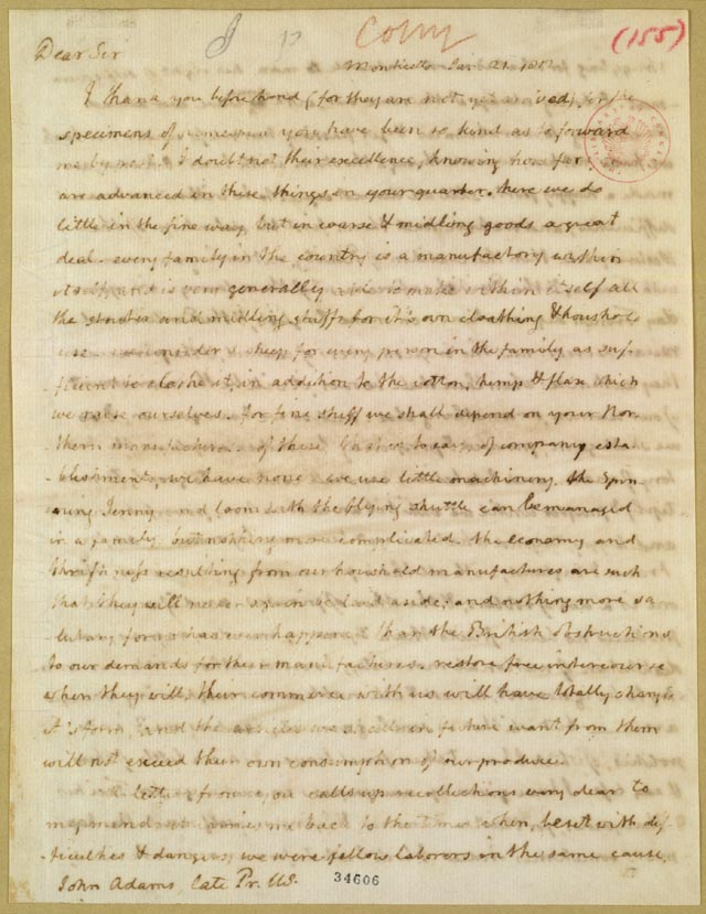 Letter Thomas Jefferson Thomas Jefferson to John Adams