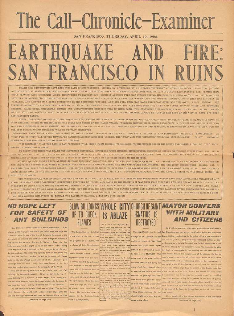 a report on the 1906 san francisco earthquake The california earthquake of april 18, 1906 ranks as one of the most significant earthquakes of all time rare photos of the 1906 san francisco earthquake.