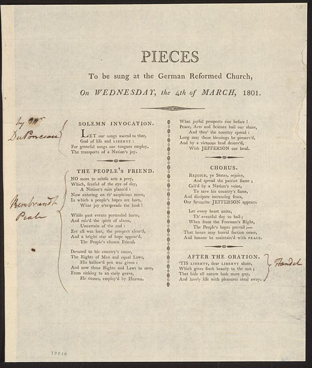 Words to be sung at a service honoring the inauguration of Thomas Jefferson as President. Image from the Treasures of the Library of Congress.