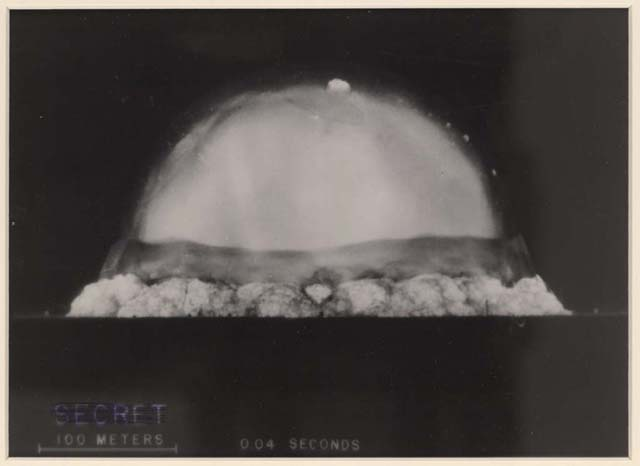 Image of the first nuclear test explosion in New Mexico, July 16, 1945. (Library of Congress Photo)