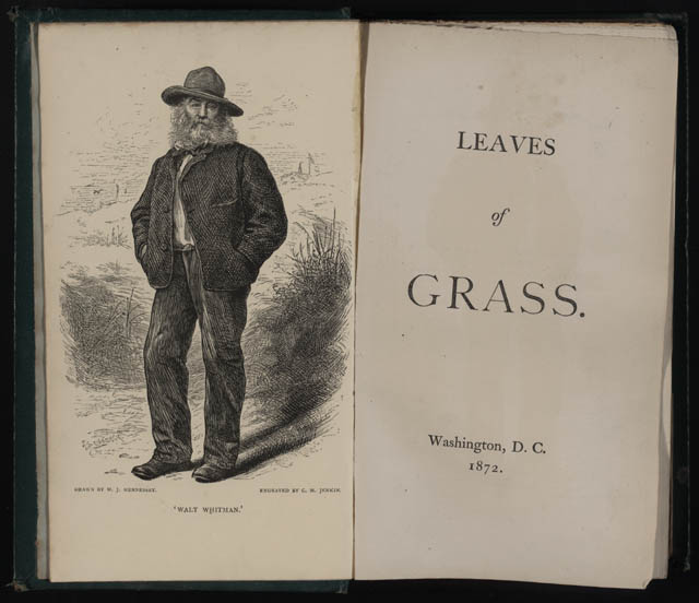 Leaves of Grass (fifth edition). Frontispiece: W.J. Hennessey engraving. Washington: 1872