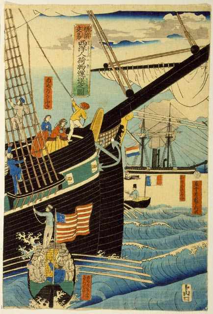 Picture of Western Traders at Yokohama Transporting Merchandise