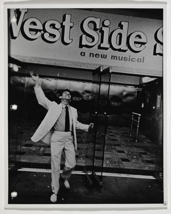 Leonard Bernstein outside the National Theatre in Washington, DC