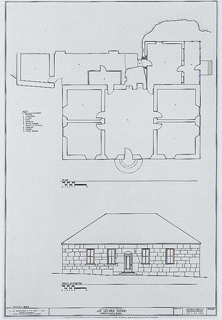 ... drawing of the Joseph Delmue House, Lincoln County, Nevada