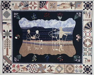 "Prize winning quilt by Oregon quilter Ken Hegge titled ""How Far Willamette?"""