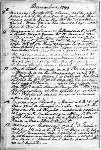 washingtons diaries available online october   library of  the original manuscript page from the diary washington kept during   the last year of
