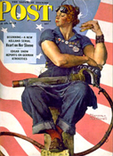 Norman Rockwell's Rosie, one of many versions of the famous World War II factory worker Rosie the Riveter, from the cover of The Saturday Evening Post