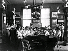 Group of Young Women Reading in Library of Normal School, Washington, D.C., 1899