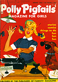 """Editor Polly Pigtails at Work,"" cover of Polly Pigtails' Magazine for Girls, 1953. After several name and format changes, the magazine is still published today, as YM."