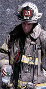 firefighter John Morabito of Ladder Company 10 at the WTC site after the attack