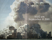 a double-page spread of the Times of London of Sept. 12 shows Manhattan as if under nuclear attack, just after the collapse of the second tower