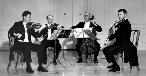 The members of the first Juilliard Quartet resident at the Library of Congress, in a 1962 photo, from left: Robert Mann, Isidore Cohen, Claus Adam and Raphael Hillyer