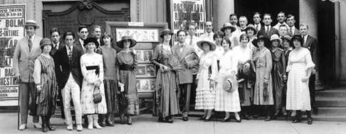 Bolm near the center of his troupe in front of the Belasco Theatre in Washington, D.C., prior to a performance in August 1917