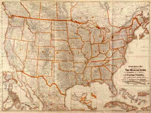 map of america states. Railway map of the U.S. states