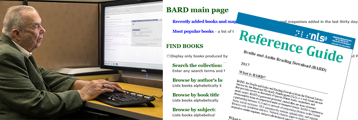 Collage with a photo of a man using BARD, a screenshot of the BARD home page, and the cover of the BARD reference guide.