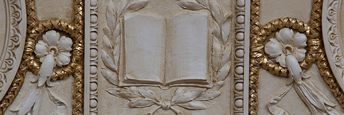fresco of open book in Jefferson building Library of Congress