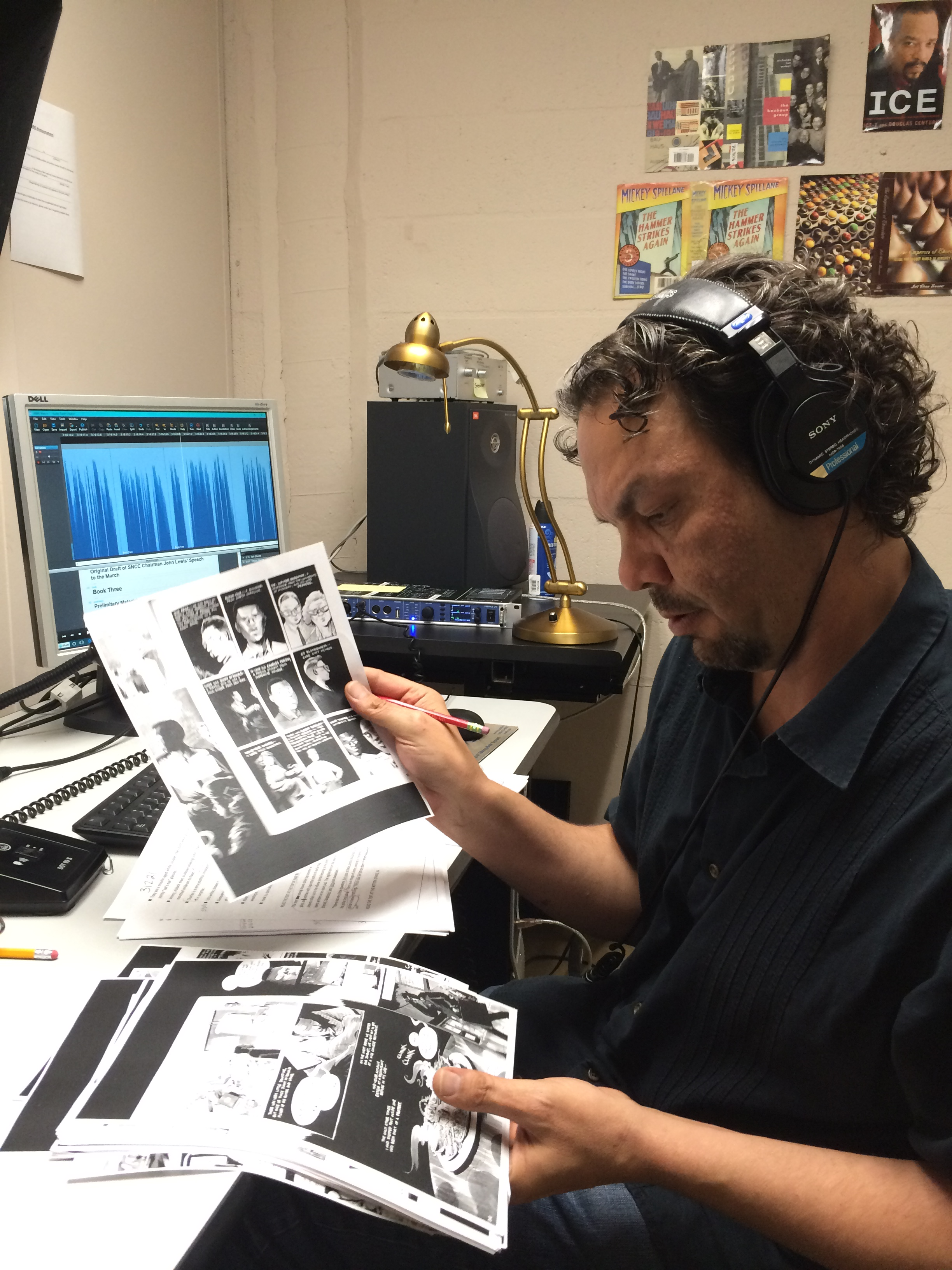 Monitor Julian Thompson reviews pages of narration