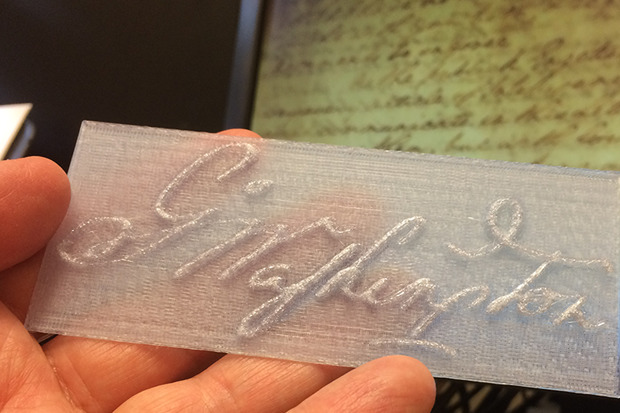 A 3D replica of George Washington's signature