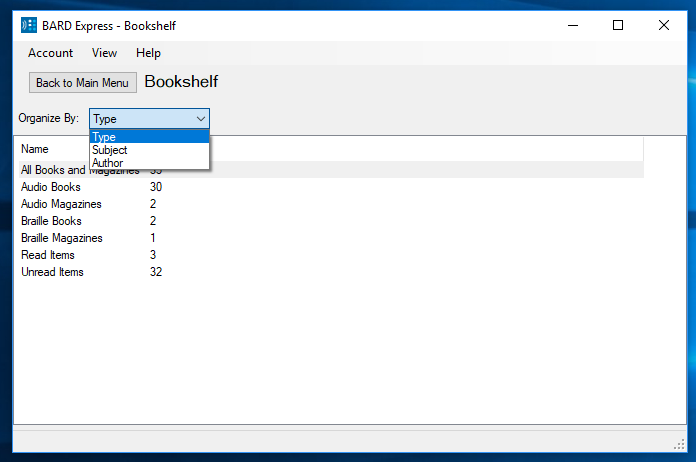 Screenshot of BARD Express Bookshelf sorted by type.