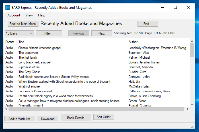 Screenshot of BARD Express Recently Added Books and Magazines