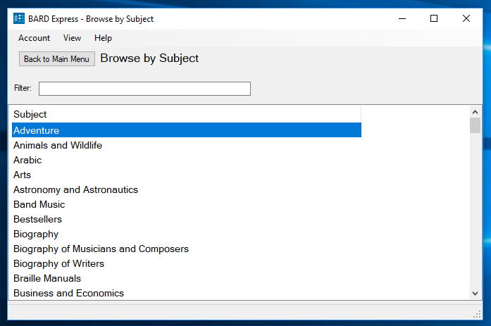 Screenshot of BARD Express Browse by Subject