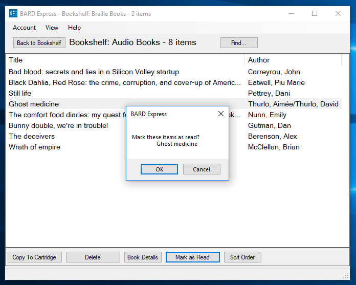 Screenshot of BARD Express Bookshelf, All Books and Magazines displaying the Mark item as read confirmation dialog box