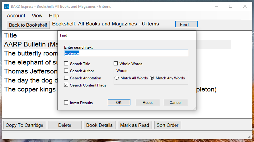 Screenshot of BARD Express Bookshelf, All Books and Magazines displaying the Find dialog box with Content Flags checked and the word violence in the search box