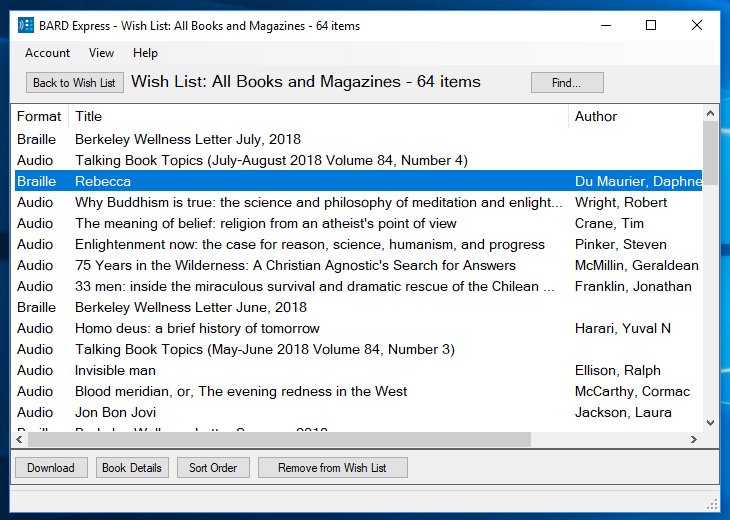 Screenshot of BARD Express Wish List showing All Books and Magazines in Standard Mode