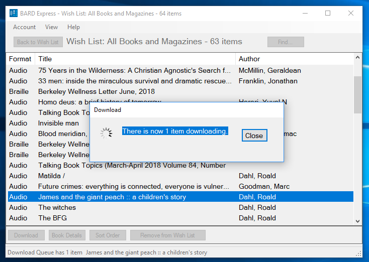 Screenshot of BARD Express Wish List, All Books and Magazines displaying the Downloading dialog box