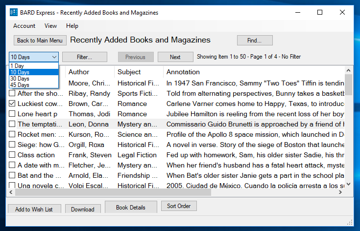 Screenshot of BARD Express Recently Added Books and Magazines displaying the options for display dates