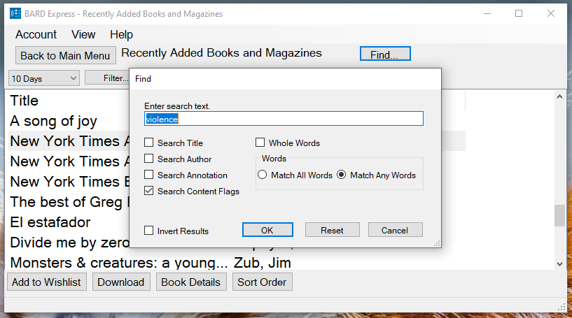 Screenshot of BARD Express Recently Added Books and Magazines displaying the Find dialog box with Content Flags checked and the word violence in the search box