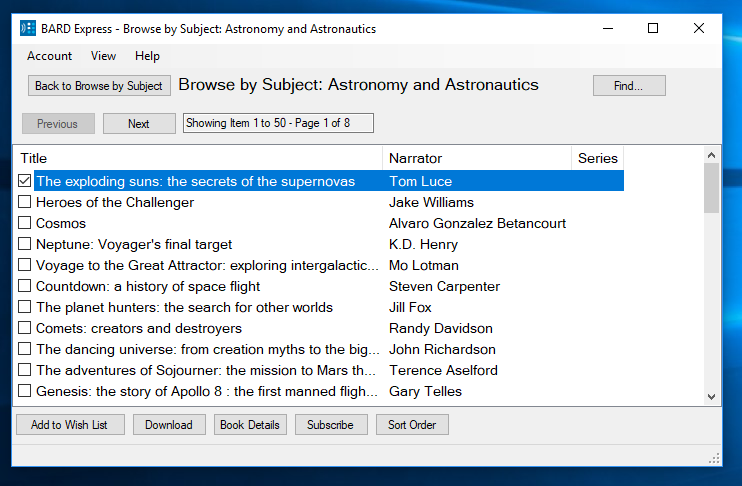 Screenshot of Browse by Subject: Astronomy and Astronautics in Advanced Mode
