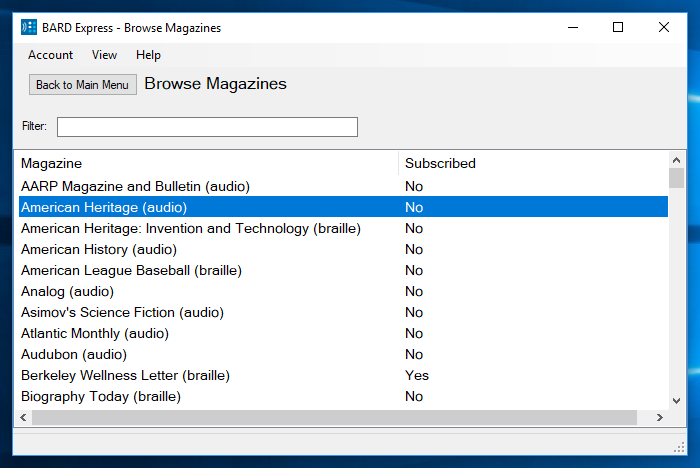Screenshot of Browse Magazines