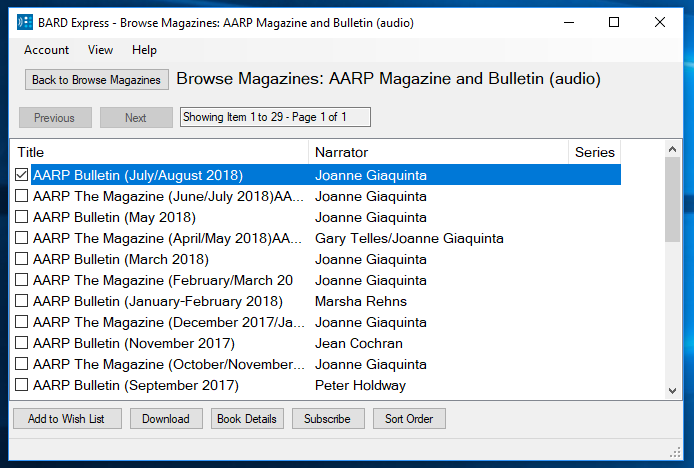 Screenshot of Browse Magazines: AARP Magazine and Bulletin in Advanced Mode