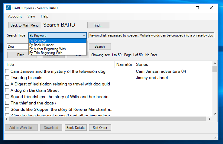 Screenshot of Search BARD by Keyword in Advanced Mode