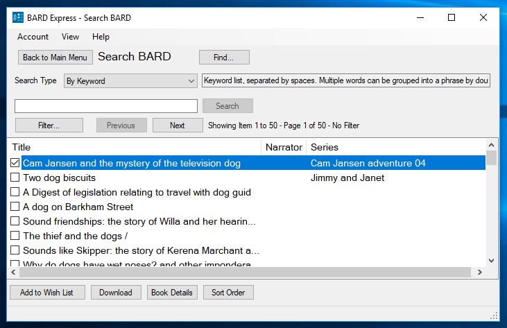 Screenshot of Search BARD by Keyword book list in Advanced Mode