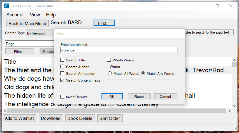 Screenshot of Search BARD by Keyword displaying the Find dialog box with Content Flags checked and the word violence in the search text box