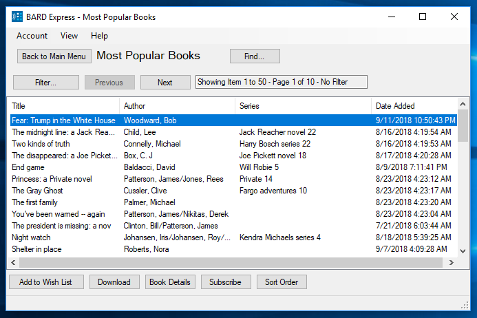 Screenshot of Most Popular Books displayed in Standard Mode