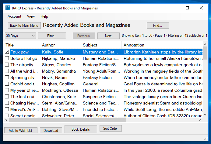 Screenshot of Recently Added Books and Magazines displayed in Advanced Mode