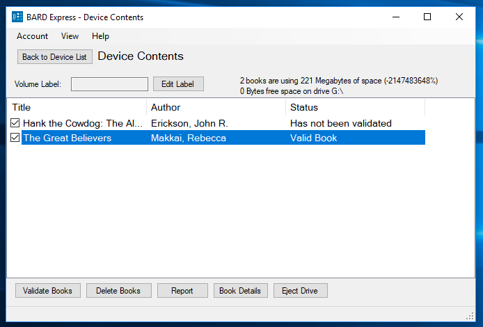Screenshot of Device Contents displaying two titles, one validated and the other not validated