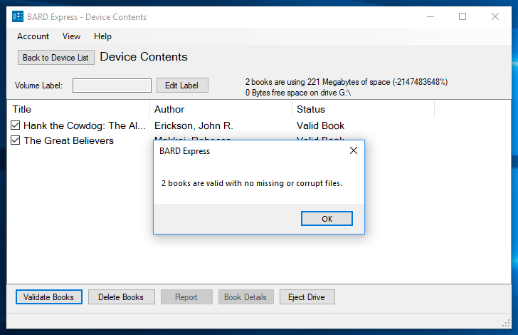 Screenshot of Device Contents displaying the validation dialog box with 2 valid books