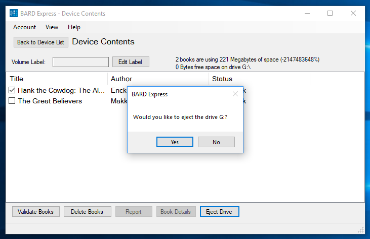 Screenshot of Device Contents displaying the eject drive confirmation dialog box