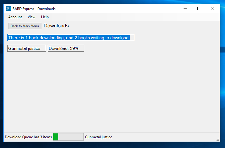 Figure 66 Screenshot of Downloads displaying the download queue with 3 items and 1 title 39% downloaded