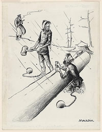 Cartoon shows two prisoners in a gulag in the Soviet Union. They split logs in the snow and discuss their crimes as a guard watches them in the distance.