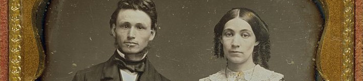 Unidentified man and woman. F. Grice, ca. 1855.