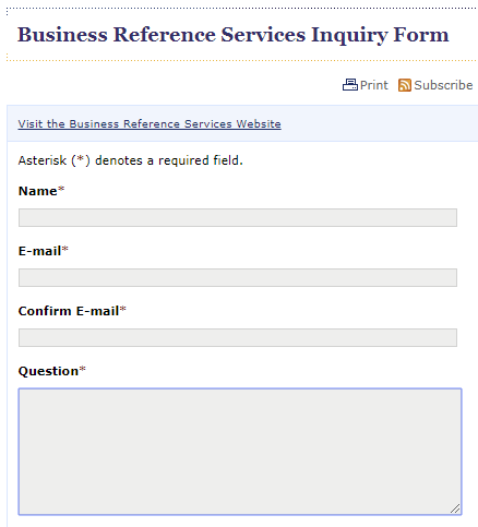 Business Ask a Librarian form