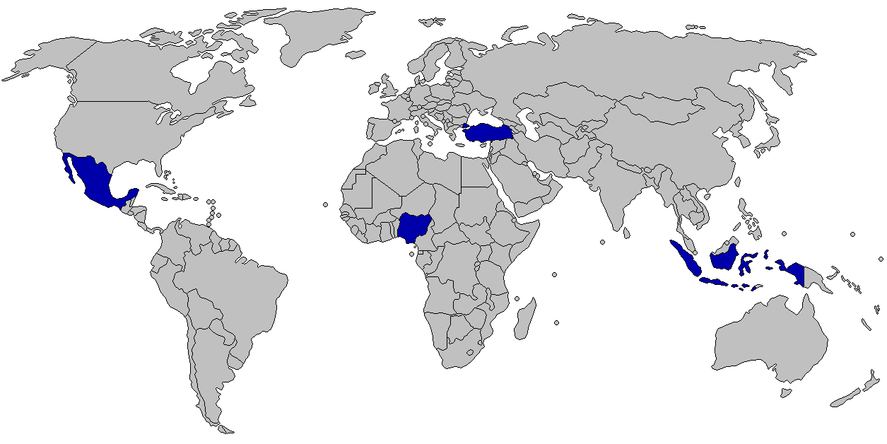 MINT countries on the world map
