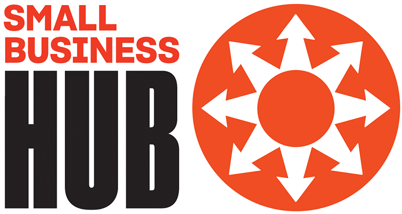 Small Business Hub icon of eight arrows pointing outwards