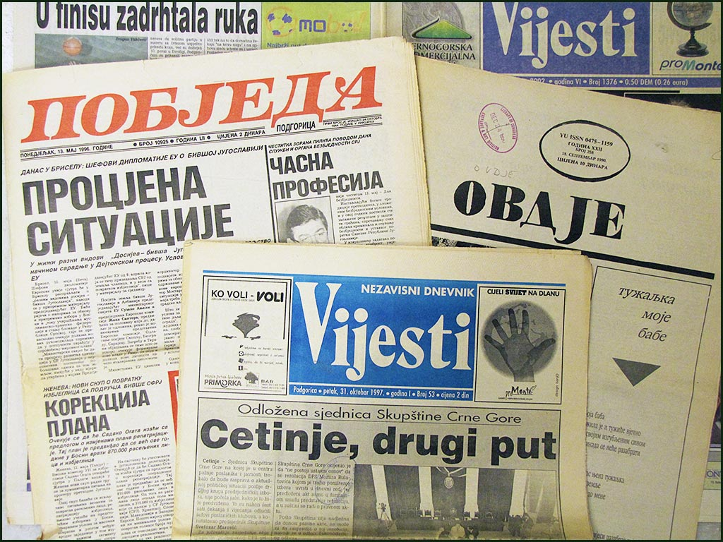 Image of Montenegrin newspapers